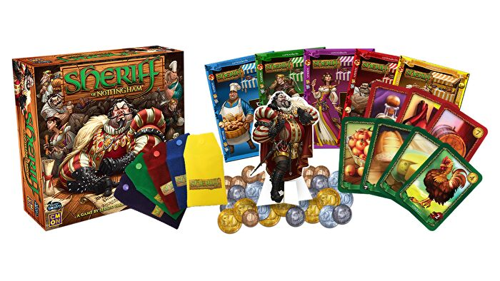 Sheriff of Nottingham beginner board game box and components