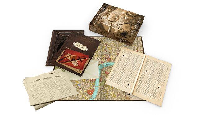 Sherlock Holmes: Consulting Detective - Thames Murders & Other Cases co-op board game box and components