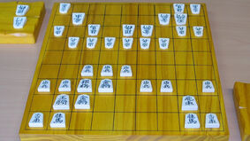 Shogi board with pieces