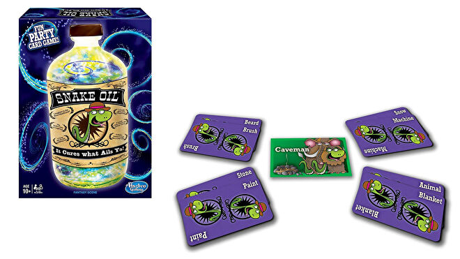 Snake Oil family board game box and cards