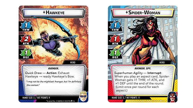 Spider-Woman and Hawkeye Marvel Champions: The Card Game