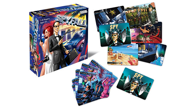 Spyfall party board game box and components