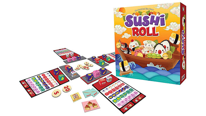 Sushi Roll family board game box and gameplay layout