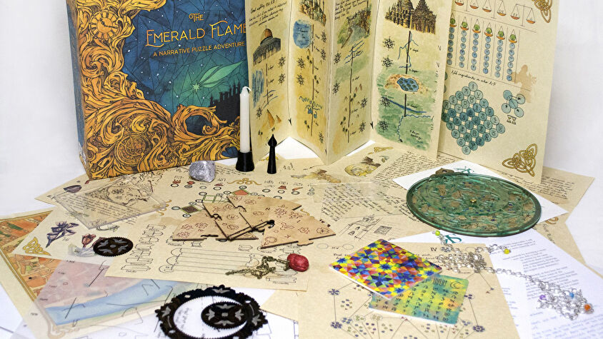 The Emerald Flame board game components