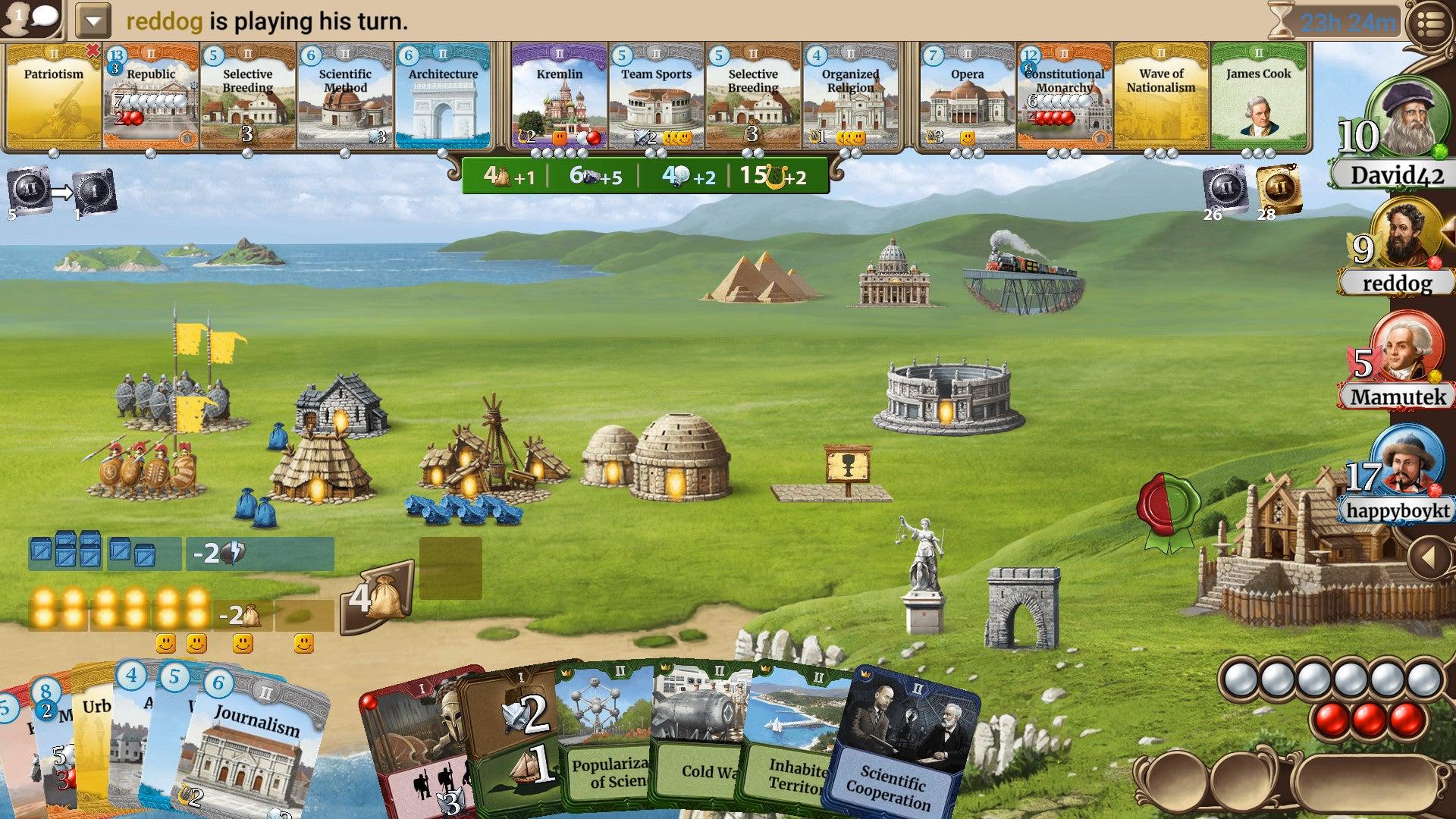 Through the Ages digital board game screenshot (actual)