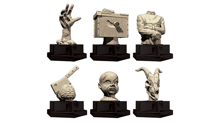 Trivial Pursuit: Horror Ultimate Edition board game pieces