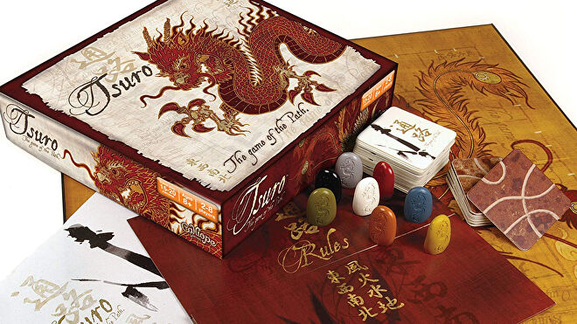 Tsuro quick board game box and components