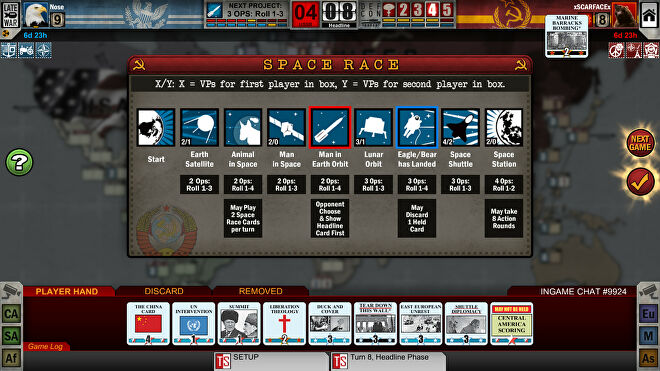 Twilight Struggle digital board game screenshot