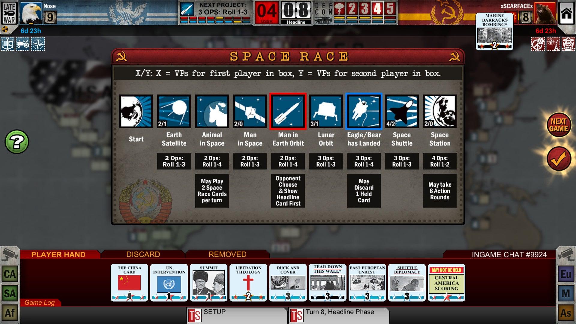 Twilight Struggle digital board game screenshot