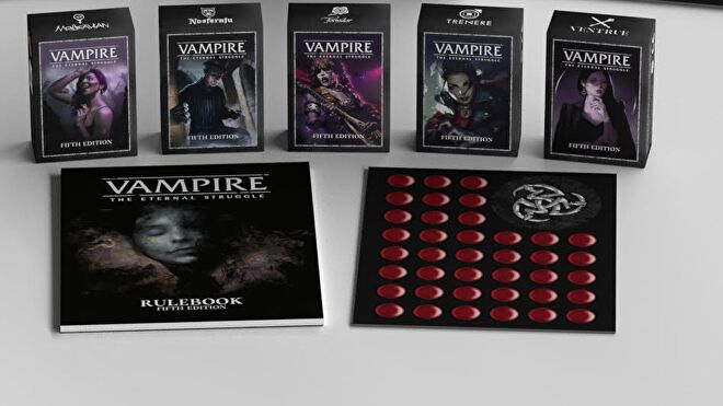 Vampire: The Eternal Struggle Fifth Edition collectible card game layout