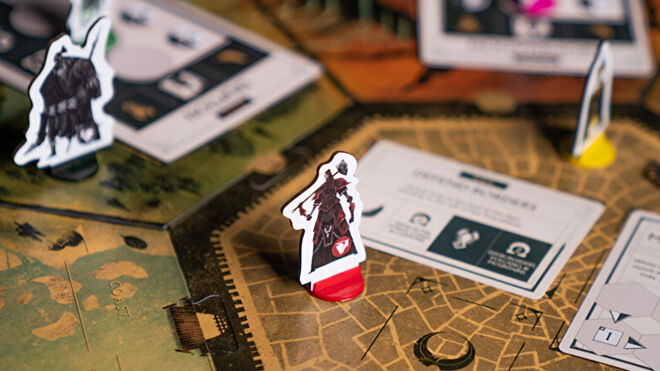 Veiled Fate board game layout standees