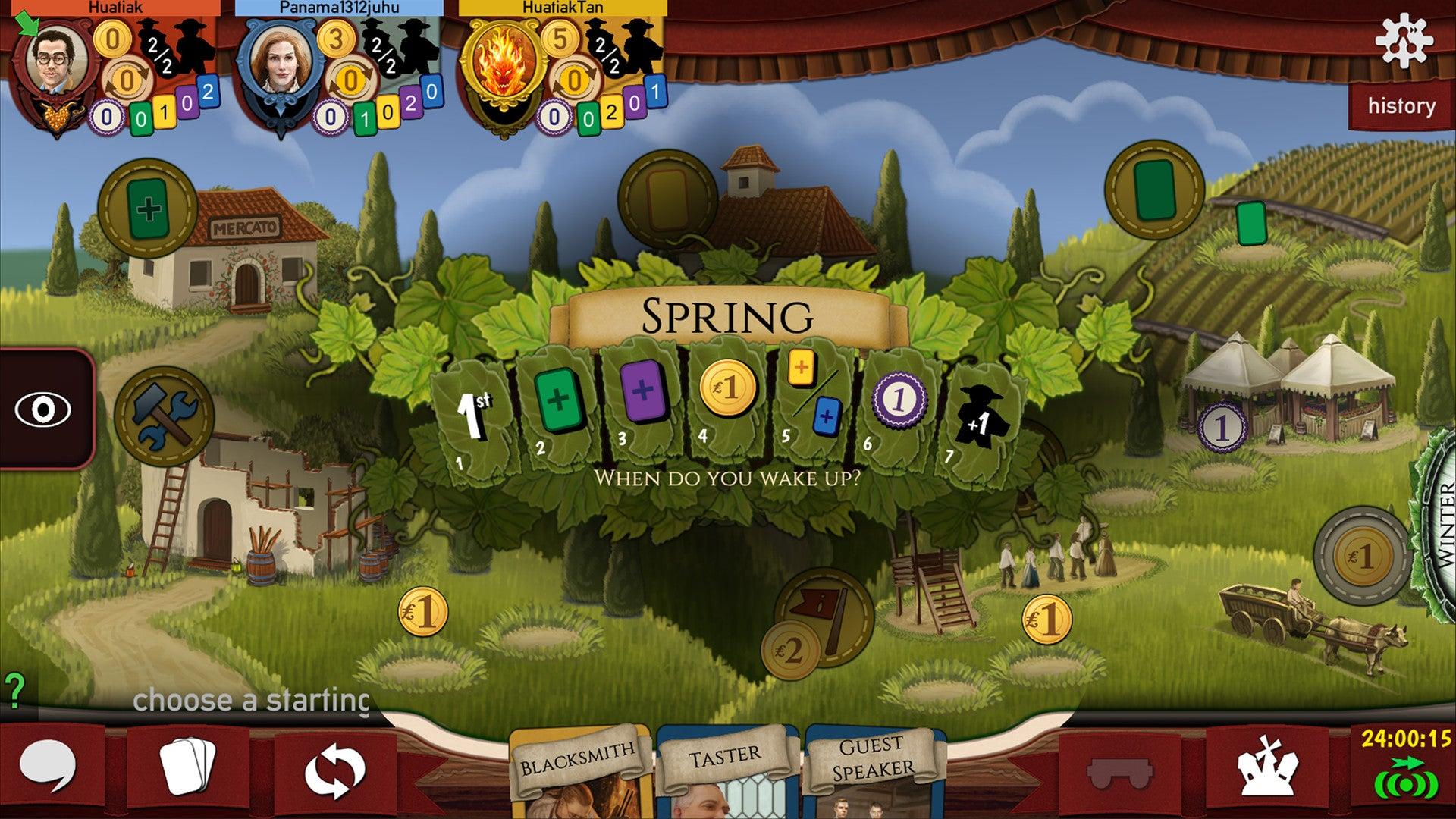 Viticulture digital board game screenshot 2