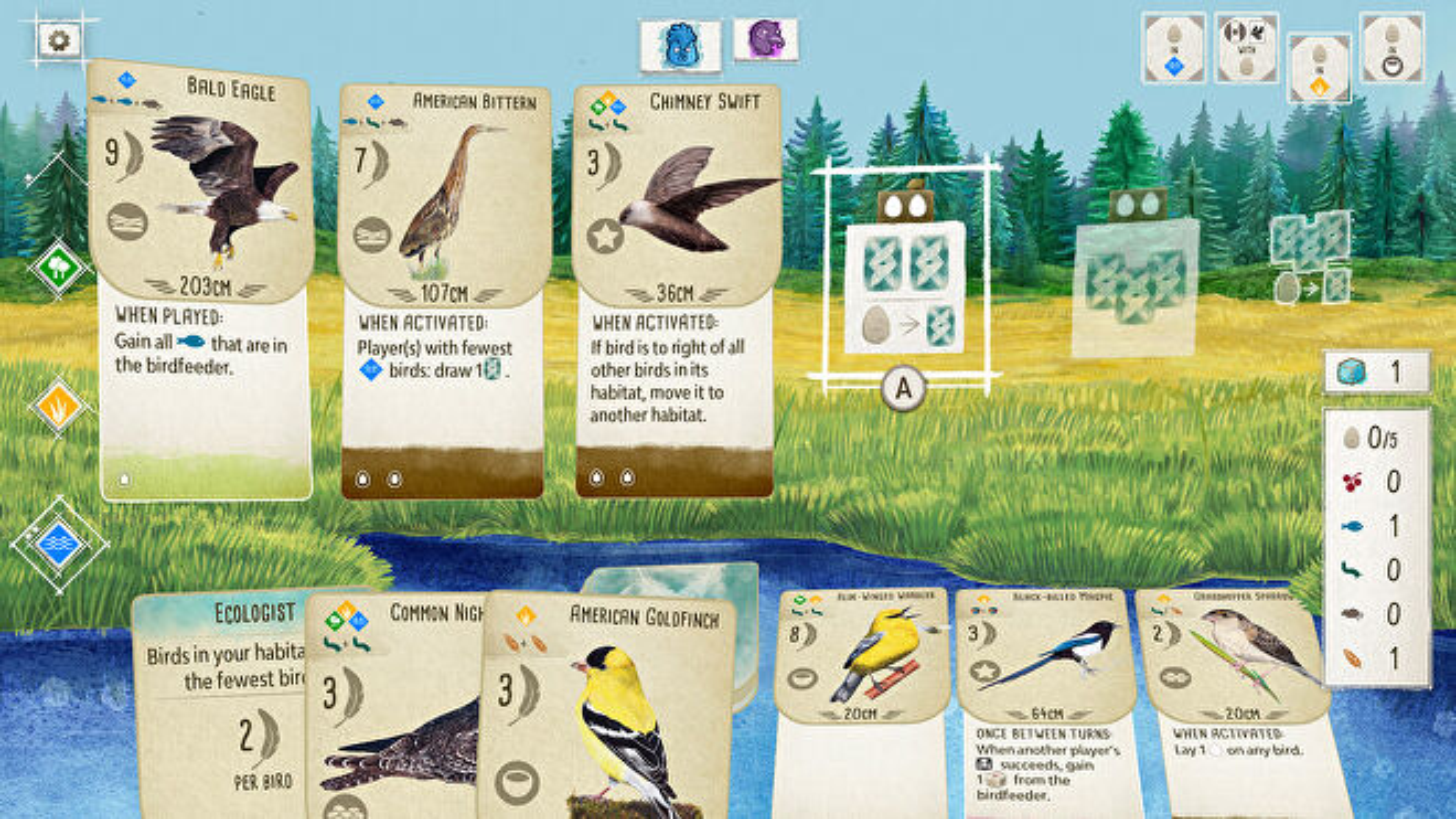 Wingspan video game screenshot